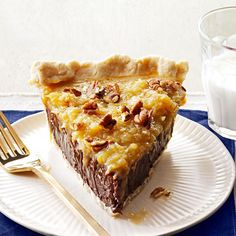 This German chocolate pecan pie combines the ingredients everyone loves in its classic cake cousin. It's so silky and smooth, you won't be able to put your fork down. —Anna Jones, Coppell, Texas German Chocolate Pies, Chocolate Pie Recipes, Chocolate Cake, Just Desserts, Delicious Desserts, Yummy Food, Pie Dessert, Dessert Recipes, Candy Recipes