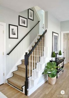 White Painted Staircase Makeover with Seagrass Stair Runner. Full step by step tutorial from removing the old carpet to staining the banisters, to installing the stair runner. Black And White Stairs, White Staircase, Staircase Design, Staircase Ideas, Stairway Paint Ideas, Black Stair Railing, Railing Ideas, Black White, Stair Treads