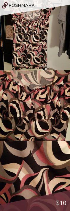 B.Moss blouse Tan, pink, gray, cream, black, and dark gray colors. b.moss Tops Blouses