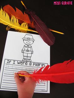 GENIUS!! Tape feathers to pencils for writing about what it'd be like to be a pilgrim and other super fun Thanksgiving writing ideas