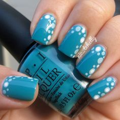 blue and white nail dot art
