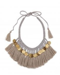 Grey Cotton Plumas Brass Coin Necklace