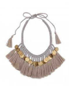 Grey Cotton Plumas Brass Coin Necklace