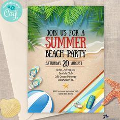 Tropical Summer Beach Party Invitation, Birthday Party | 2-sided, 5x7 | Editable Digital Printable Template | Edit Online & Print Beach Party Invitations, Invitation Birthday, Digital Invitations, Summer Beach Party, Edit Online, Beach Themes, Online Printing, Tropical