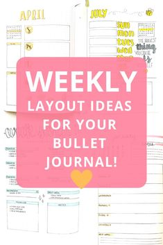 Are you having trouble planning out your weeks? Check out these 18 weekly spread ideas for your bullet journal! Find some inspiration for your journal and maximize your productivity and creativity by designing different weekly spread ideas in your bullet journal. These weekly pages are designed to organize all of your activities and tasks in your bullet journal to help keep you on track and motivated! Bullet Journal Tracker, Bullet Journal Hacks, Bullet Journal How To Start A, Bullet Journal Lettering Ideas, Bullet Journal Spread, Bullet Journal Layout, Bullet Journal Ideas Pages, Bullet Journal Inspiration, Journal Pages