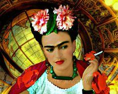 Frida Kahlo Star Sign Cancer Original Digital Art Print 8x10 Signed Mixed Media Collage. $14.00, via Etsy.