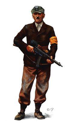 WEHRMACHT - Soldat der Deutscher Volkssturm Werhmacht armato con un Volksgewehr, e una granata M1924.