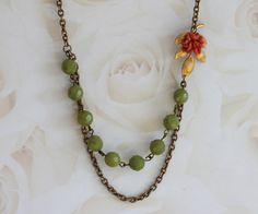 Coral Flower Necklace Green Gemstone Necklace  by madebymoe, $38.00