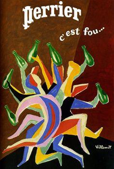 """""""Perrier c'est fou..."""" mineral water advertising Poster by Bernard Villemot (b.1911 - d.1989, France)  ~  Original Vintage Ad. Poster."""