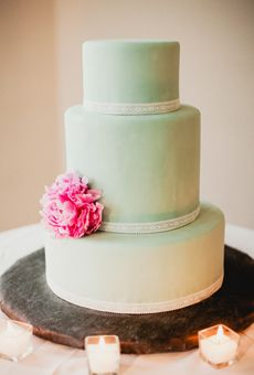 Mint Green Cake with Single Pink Peony | Wedding Cake