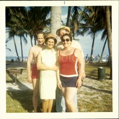 Vintage Photo Color Photo Two Couples on Miami Beach