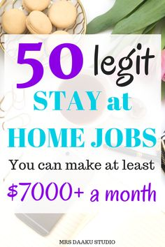 """""""Work from home legitimate options for 2019 - this list shares 50 best work from home jobs for moms. It includes data entry, virtual assistant, freelance writing, customer service, proofreading…"""" Earn Money From Home, Way To Make Money, Make Money Online, Making Money From Home, Money Fast, Stay At Home Mom, Work From Home Moms, Work From Home Ideas, At Home Business Ideas"""