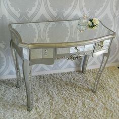Silver Mirrored Dressing Table Bedroom Furniture Elegant Ornate Glass French in Home, Furniture & DIY, Furniture, Dressing Tables | eBay