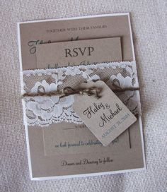 Rustic Wedding Invitation Lace Wedding Invitation Rustic Wedding by LoveofCreating on Etsy