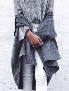 Grey knit + white skinny jeans