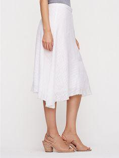 Knee-Length Skirt in Handkerchief Linen Open Weave with silk habutai lining. Eileen Fisher.