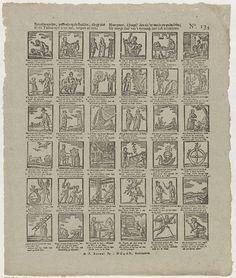 J. Robyn | Spreekwoorden, passende op de beelden, die gy ziet / In dit tafreel zyn u tot nut, vergeet ze niet; / Maar prent, ô jeugd! den zin 'er van in uw gedachten, / Gy moogt daar van 't vermaak met lust betrachten, J. Robyn, A. Robyn, Johan Noman, 1806 - 1830 | Blad met 36 verbeeldingen van spreekwoorden. Onder elke afbeelding een vierregelig vers. Genummerd rechtsboven: No. 134.