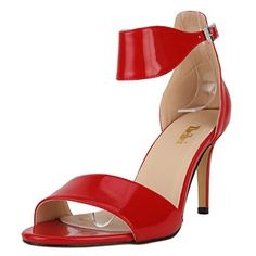 Zbeibei Womens Classic PU Patent Ankle Strap Pumps Open Toe High Heels SandalsZBB1072PA36red * Click image to review more details.