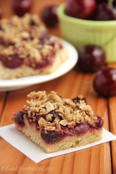 Cherry Crumble Bars - with a sugar cookie crust & crumble topping. They got rave reviews & nobody guessed they were skinny!