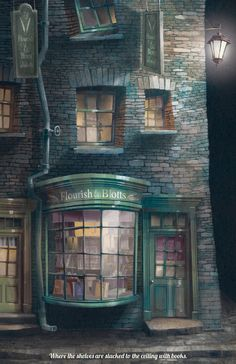 Flourish & Blotts - Where the shelves are stacked to the ceiling with books -- Harry Potter: Diagon Alley Posters - Created by The Green Dragon Inn