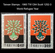 1960 TW C64 Scott 1252-3  World Refugee Year