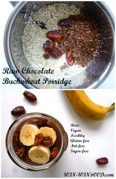 Raw Chocolate Buckwheat Porridge | WIN-WINFOOD.com A giant glass full of sweet chocolatey goodness for breakfast! And it's #healthy, #cleaneating, #sugarfree, #raw, #vegan and #glutenfree.