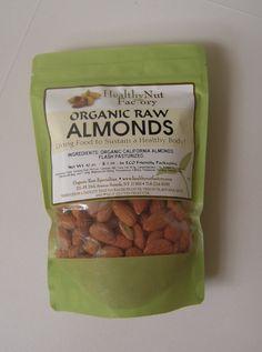Organic Raw Almonds Ingredients: Organic California Almonds 10oz www.healthynutfactory.com