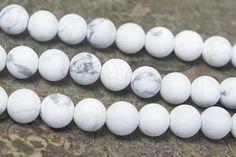 matte howlite white beads - white stone beads - white gemstone bead -  grey and white beads - semi precious stones - 4-14mm beads - 15 inch
