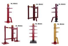 A range of different wooden dummies. Chinese martial arts training equipment for…