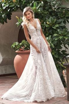 Ivory/Vintage embroidered lace wedding dress with a beautiful V-neckline and V- back. This pretty bridal dress has beading details and a beautiful ball gown silhouette with sweep/tiffany train. White Bridal Dresses, Pretty Wedding Dresses, Little White Dresses, Bridal Gowns, Lace Wedding, Prom Dresses, Dream Wedding, Wedding Dresses Denver, Affordable Wedding Dresses