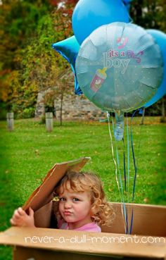 After the big surprise reveal, put Claire in the box with more balloons! Gender reveal ideas via @Jo Krueger a Dull Moment #genderreveal #whowillitbe #teamblue