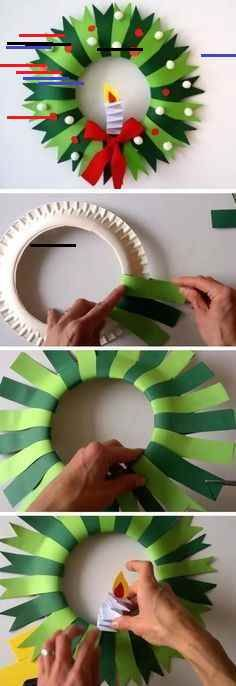 Paper plate Christmas wreath - Holiday Crafts for Kid's - Crafts for kids Christmas Decoration For Kids, Diy Christmas Arts And Crafts, Christmas Activities For Kids, Holiday Crafts For Kids, Diy Arts And Crafts, Diy Christmas Ornaments, Diy Crafts For Kids, Christmas Wreaths, Kids Diy