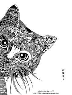 Remarkable black ink drawing of a cat posted on an abandoned blog of a talented young female artist in China.