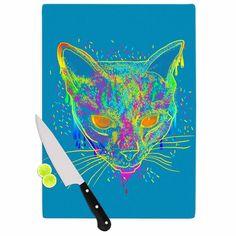 Kess InHouse Frederic Levy-Hadida 'Candy Cat Blue' Rainbow Cat Cutting Board