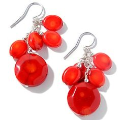 Bamboo Coral Sterling Silver Clustered Drop Earrings  at HSN.com.