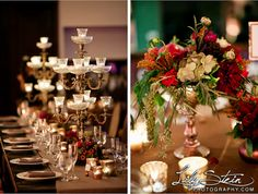 Fall decor head table. Candelabras, vintage, rich color. Highland Springs Resort Reception. Lily Stein Photography