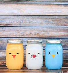 Chick Bunny & Bluebird Easter Mason Jars