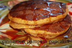 Mostly Homemade Mom - Cinnamon Pumpkin Pancakes www.mostlyhomemademom.com