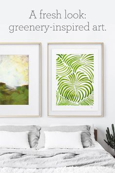 Greenery-inspired art. Renew your walls with art art featuring Pantone's Color of the Year.
