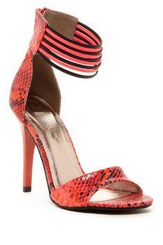 Coral + black | sandal heels