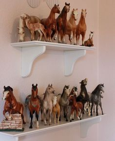 I have boxes of these model Breyer horses from my childhood! I still am horse crazy! Horse Themed Bedrooms, Bedroom Themes, Girls Bedroom, Girls Horse Bedrooms, Bedroom Ideas, Diy Bedroom, Horse Love, Horse Girl, Little Girl Rooms