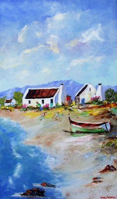 Art Painting by Louis Pretorius includes Fisherman's Cottages with Green Boat, this example of Seascapes has inspired this exceptionally talented artist. View other Paintings by Louis Pretorius in our Online Art Gallery. Abstract Ocean Painting, Abstract Wall Art, Oil Painting On Canvas, Landscape Art, Landscape Paintings, Seascape Paintings, Landscapes, Sea Texture, Ocean Canvas