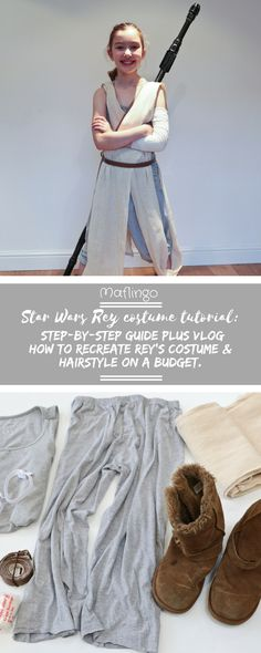 How to make Rey's costume from Star Wars:The Force Awakens. My step by step guide to making Rey's outfit and recreating her hairstyle on a budget. Complete with video tutorials. Click through to Maflingo for full details. You can also find Part 2 on Maflingo, where I show you how to make Rey's staff from junk and plumbing supplies.