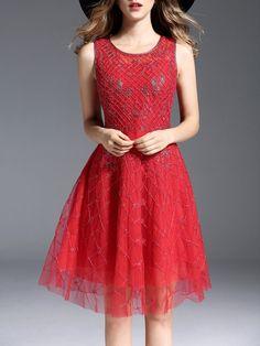 #AdoreWe #StyleWe Oushiying A-line Girly Sleeveless Beaded Paneled Embroidered Midi Dress - AdoreWe.com