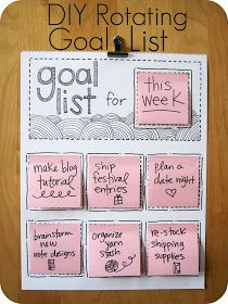 DIY Rotating Goal List for goals, meal plans, to do, fitness routine, kids' homework etc. #postit #schedule