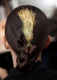 gold leaf in hair?