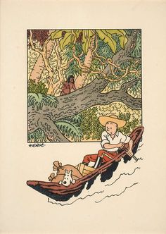 Art Et Illustration, Illustrations, Tintin Au Congo, Comic Character, Character Design, Tin Tin Cartoon, Herge Tintin, Bd Art, Ligne Claire