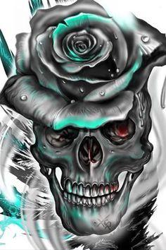 DIY Diamond Painting Full Drill Art Skull Home Decors Kits Embroidery Gifts Skull Tattoos, Rose Tattoos, Body Art Tattoos, Totenkopf Tattoos, Skull Pictures, Skull Artwork, Geniale Tattoos, Skull Wallpaper, Sugar Skull Art