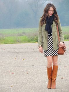 Kacie's Kloset: Copycat Monday (x2) - black and white striped dress, military green jacket, black scarf, brown boots and bag