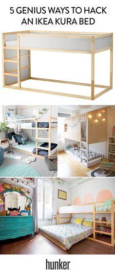 Genius Ways to Hack an Ikea Kura Bed 5 genius hacks to the Ikea loft bed. Another option to use when you need to beds in a genius hacks to the Ikea loft bed. Another option to use when you need to beds in a room Cama Ikea Kura, Ikea Kura Hack, Ikea Hack Kids, Ikea Hacks, Kura Bed Hack, Hacks Diy, Diy Hack, Baby Bedroom, Girls Bedroom